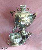 Antique Russian Silvered Samovar
